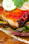 Pork belly lettuce wraps w/ pickled watermelon + chili glaze