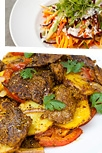 Pan-grilled lamb escalopes and potato + mango salad